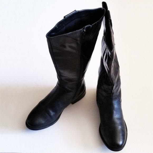 CLARKS WOMEN/'S PLAZA BEAGLE BLACK LEATHER BOOTS   # 66973
